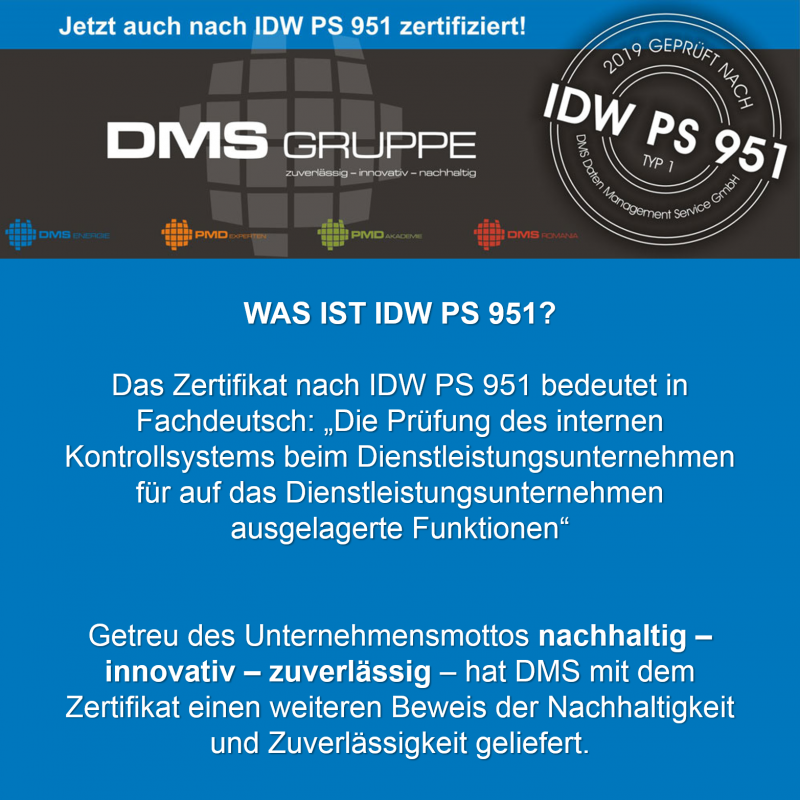 DMS Gruppe ist jetzt nach IDW PS 951 Typ 1 zertifiziert!